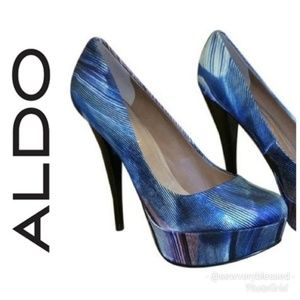 Aldo blue black stiletto platform heels Prom